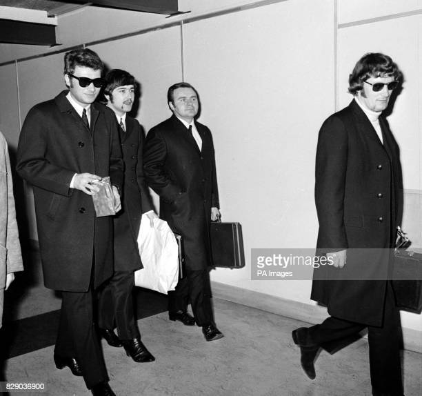 Johnny Hallyday pictured on arrival at Heathrow Airport from Paris