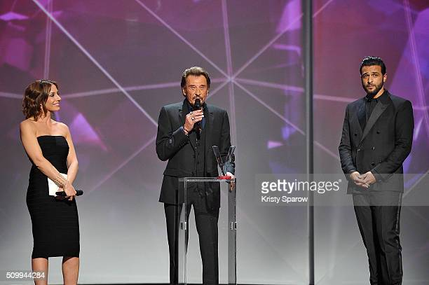 Johnny Hallyday receives the award for Best Singing Album for 'De l'amour' during the 31st 'Victoires de la Musique' French Music Awards Ceremony at...