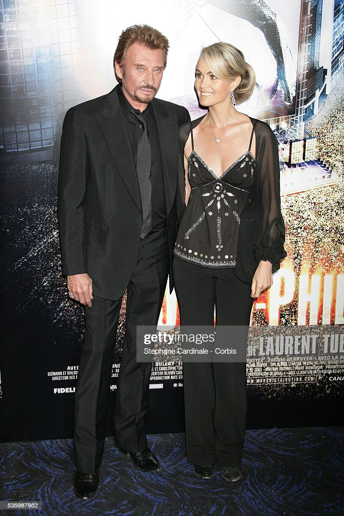 Johnny Hallyday with his wife Laetitia attend the premiere of 'Jean-Philippe' in Paris.