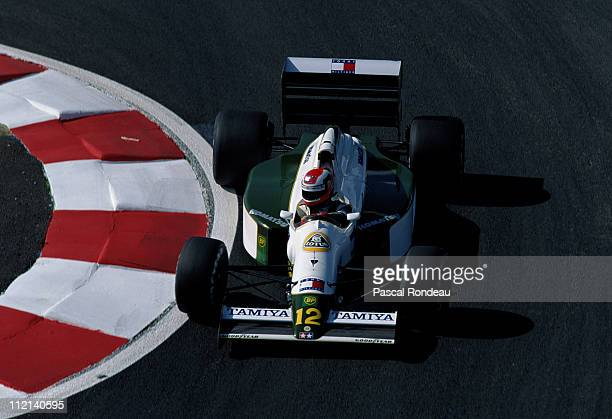 Johnny Herbert drives the Team Lotus Lotus 102B Judd 35 V8 during practice for the French Grand Prix on 6th July 1991 at the Circuit de Nevers...