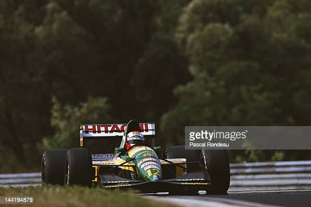 Johnny Herbert of Great Britain drives the Team Lotus Lotus 107 Ford V8 during the Hungarian Grand Prix on 16th August 1992 at the Hungaroring...