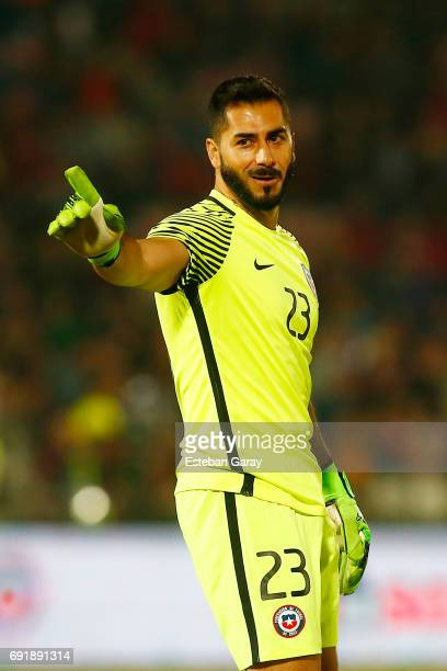 Johnny Herrera goalkeeper of Chile gestures during a match between Chile and Burkina Faso as part of an International Friendly match at Nacional...