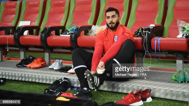 Johnny Herrera looks on during the Chile Training session and press conference on June 21 2017 in Kazan Russia