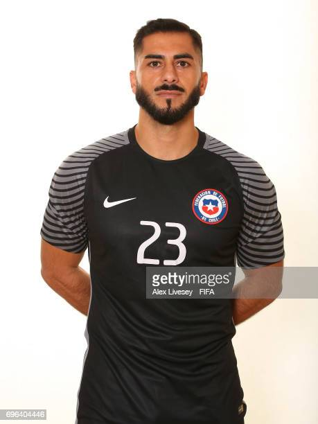 Johnny Herrera of Chile during a portrait session ahead of the FIFA Confederations Cup Russia 2017 at the Crowne Plaza Hotel on June 15 2017 in...