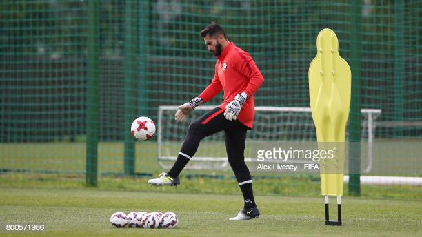 Johnny Herrera of Chile during a training session at the Strogino Training Ground during the FIFA Confederations Cup Russia 2017 on June 24 2017 in...