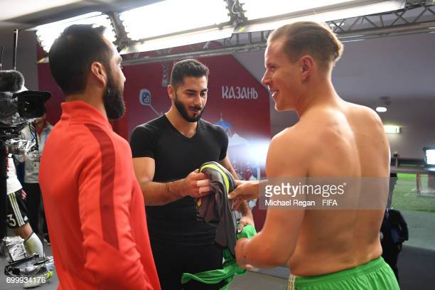 Johnny Herrera of Chile swaps shirts with MarcAndre terStegen of Germany after the FIFA Confederations Cup Russia 2017 Group B match between Germany...