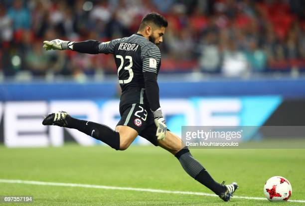 Johnny Herrera of Chile takes a goal kick during the FIFA Confederations Cup Russia 2017 Group B match between Cameroon and Chile at Spartak Stadium...