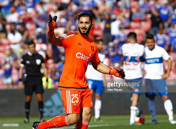 Johnny Herrera of U de Chile celebrates after scoring the second goal of his team during a match between U de Chile and Universidad Catolica as part...
