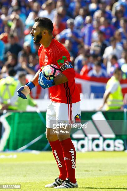 Johnny Herrera of U de Chile gestures during a match between U de Chile and Colo Colo as part of Torneo Clausura 20162017 at Nacional Stadium on...