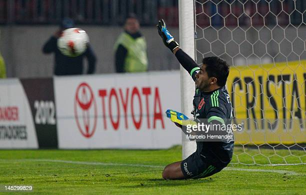 Johnny Herrera of Universidad de Chile in action during penalty against Libertad as part of the Copa Libertadores 2012 at National Stadium on May 24...