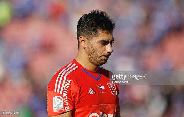 Johnny Herrera of Universidad de Chile looks dejected during match U de Chile and Colo Colo in the framework of the 11th round of the Clausura 2015...