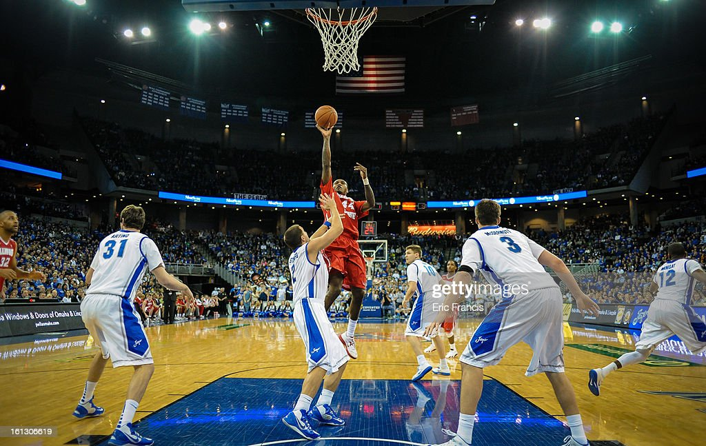 Johnny Hill #44 of the Illinois State Redbirds shoots over the Creighton Bluejays during their game at the CenturyLink Center on February 9, 2013 in Omaha, Nebraska.