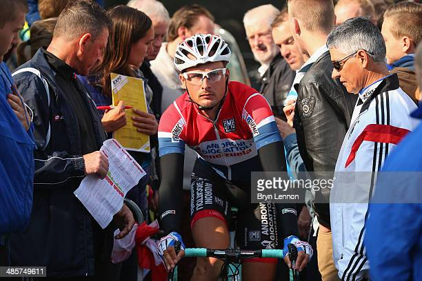 Johnny Hoogerland of the Netherlands and Androni Giocattoli Venezuela looks on ahead of the 49th edition of the Amstel Gold Race on April 20 2014 in...