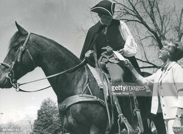 Johnny Johnson Dressed as Paul Revere to Announce British are coming Takes Ticket Order The British are the D'Oyly Carte Opera Company and Mrs John...