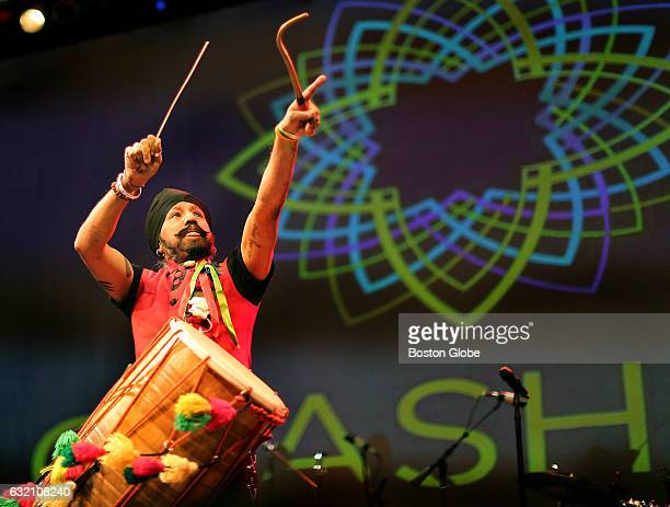 Johnny Kalsi leader of his band The Dhol Foundation perform at the CrashFest concert at the House of Blues in Boston on Jan 24 2016