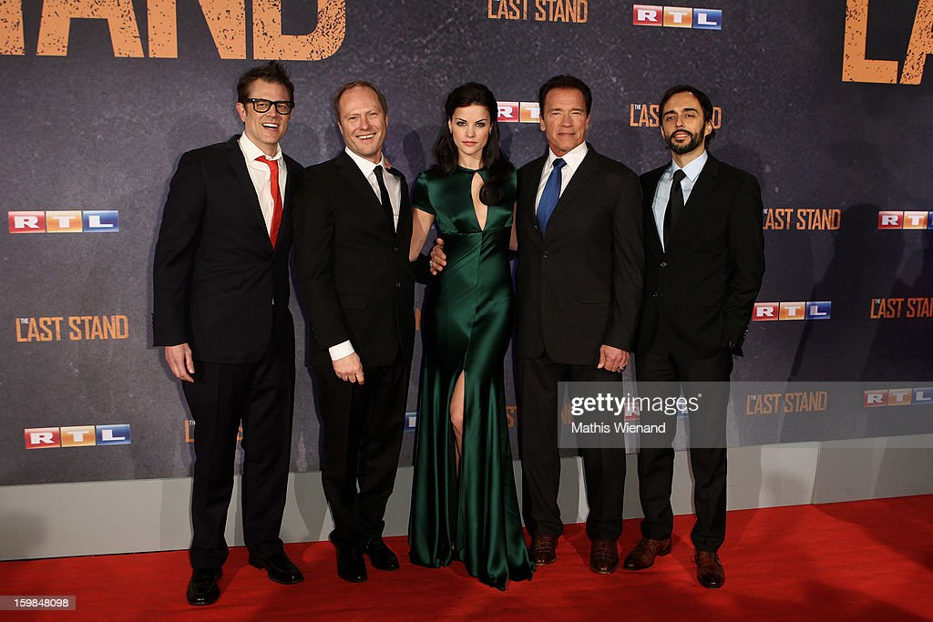 Johnny Knoxville, Andreas Klein (CEO of Splendid), Jaimie Alexander and Arnold Schwarzenegger and Sandro Lorino attend the 'The Last Stand' Cologne Premiere at Astor Film Lounge on January 21, 2013 in Cologne, Germany.