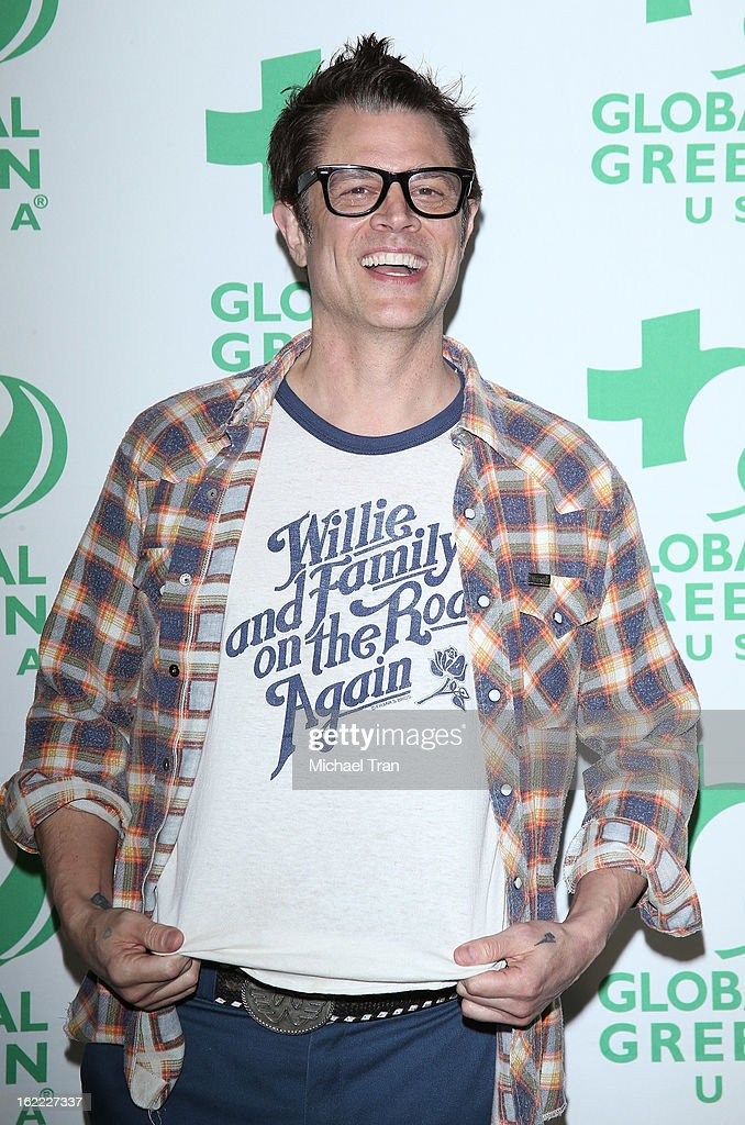 <a gi-track='captionPersonalityLinkClicked' href=/galleries/search?phrase=Johnny+Knoxville&family=editorial&specificpeople=206210 ng-click='$event.stopPropagation()'>Johnny Knoxville</a> arrives at the Global Green USA's 10th Annual pre-Oscar party held at Avalon on February 20, 2013 in Hollywood, California.