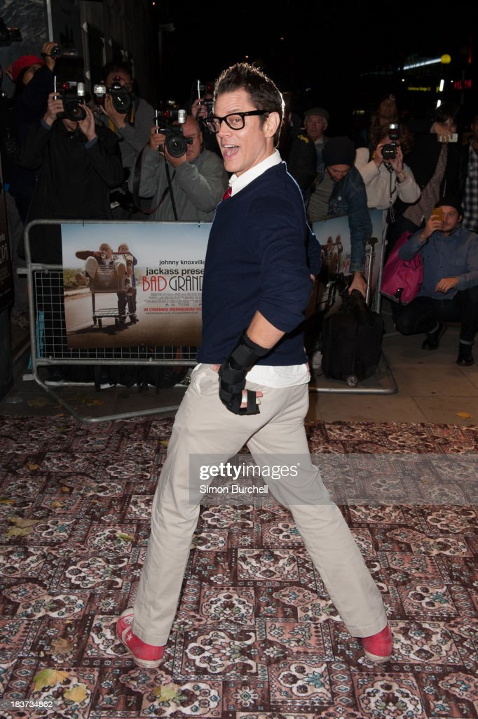 <a gi-track='captionPersonalityLinkClicked' href=/galleries/search?phrase=Johnny+Knoxville&family=editorial&specificpeople=206210 ng-click='$event.stopPropagation()'>Johnny Knoxville</a> attends the gala screening of 'Jackass Presents Bad Grandpa' at Odeon Covent Garden on October 9, 2013 in London, England.