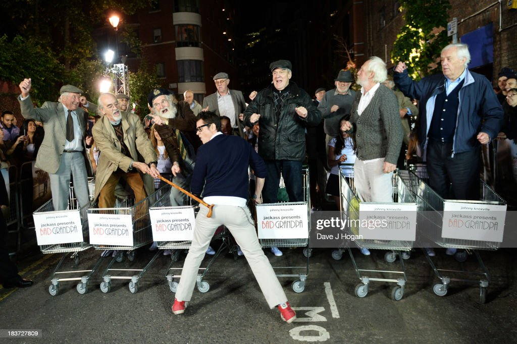 <a gi-track='captionPersonalityLinkClicked' href=/galleries/search?phrase=Johnny+Knoxville&family=editorial&specificpeople=206210 ng-click='$event.stopPropagation()'>Johnny Knoxville</a> attends the 'Jackass Presents Bad Grandpa' gala screening at the Odeon Covent Garden on October 9, 2013 in London, England.