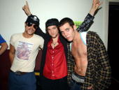 Johnny Knoxville Bam Margera and SteveO of Jackass backstage at the 2002 MTV Video Music Awards at Radio City Music Hall in New York City August 29...