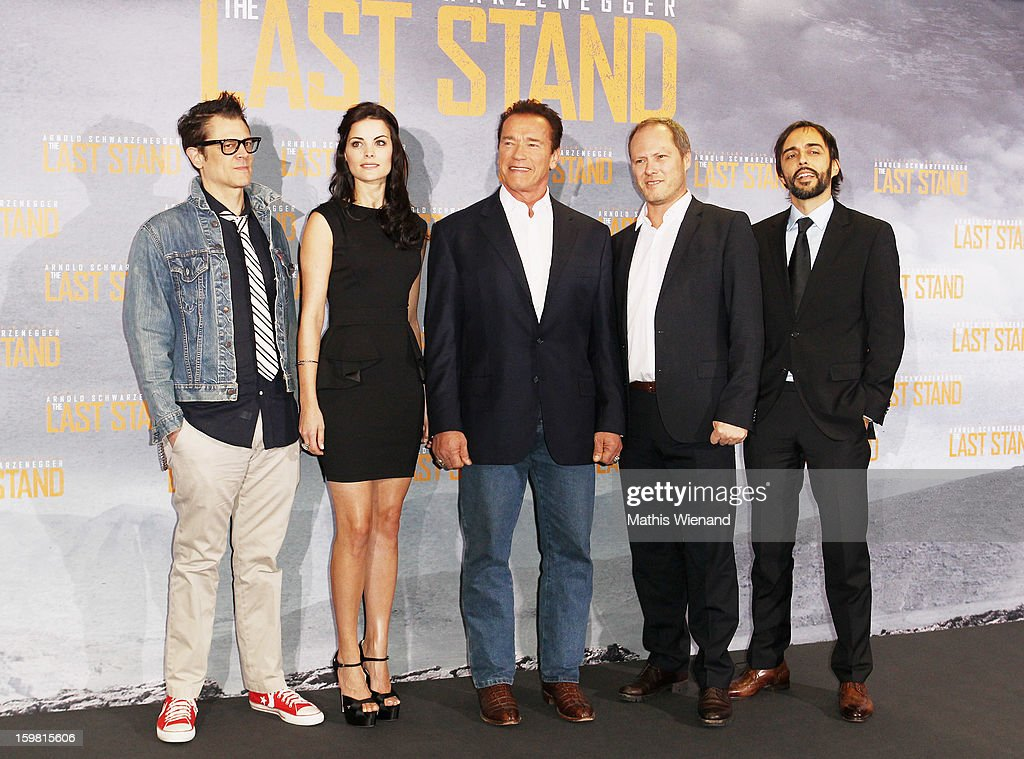 Johnny Knoxville, Jaimie Alexander and Arnold Schwarzenegger and Sandro Lorino and Andreas Klein the CEO of Splendid attend the 'The Last Stand' Photocall at Hyatt Hotel Cologne on January 21, 2013 in Cologne, Germany.