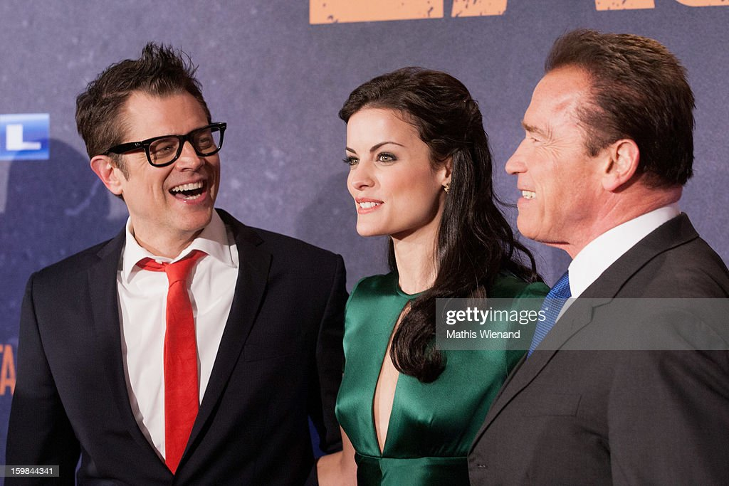 Johnny Knoxville, Jaimie Alexander and Arnold Schwarzenegger attend the 'The Last Stand' Cologne Premiere at Astor Film Lounge on January 21, 2013 in Cologne, Germany.