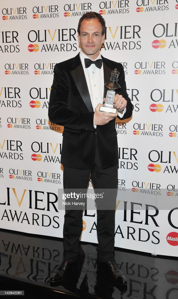Johnny Lee Miller winner of Best Actor poses in the Olivier Awards 2012 press room at The Royal Opera House on April 15, 2012 in London, England.