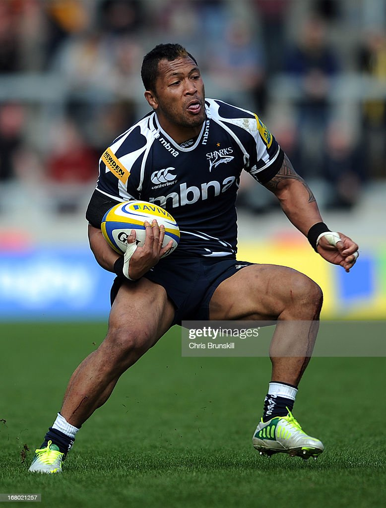 Johnny Leota of Sale Sharks in action during the Aviva Premiership match between Sale Sharks and London Wasps at the Salford City Stadium on May 04, 2013 in Salford, England.