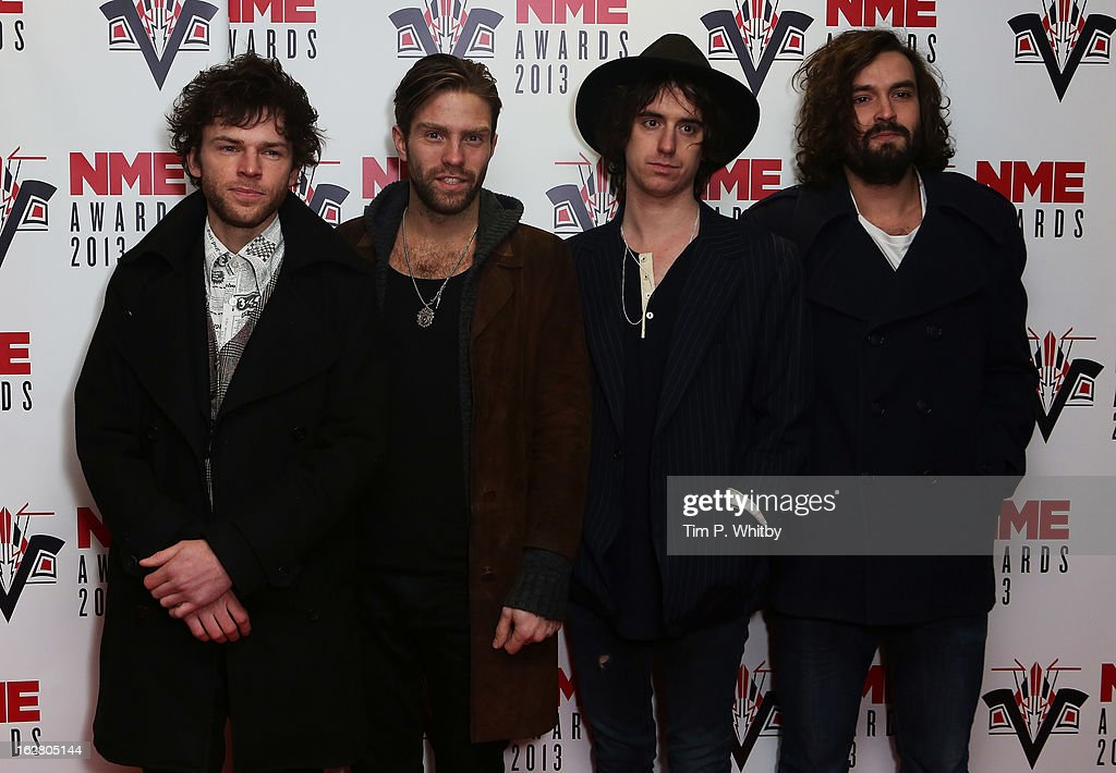 Johnny Lloyd, Jim Cratchley, Dan White and Miguel Demelo of The Tribes attend the NME Awards 2013 at the Troxy on February 27, 2013 in London, England.