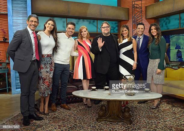 Johnny Lozada Ana Patricia Gamez William Valdes Jessica Chastain Guillermo del Toro Karla Martinez Alejandro Chaban and Maity Interiano on the set Of...
