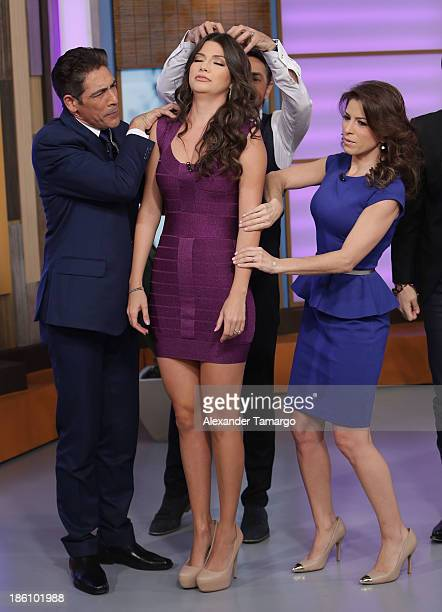Johnny Lozada Ana Patricia Gonzalez and Alessandra Rosaldo are seen on the set of Despierta America for simulcast with 'Good Morning America' and...