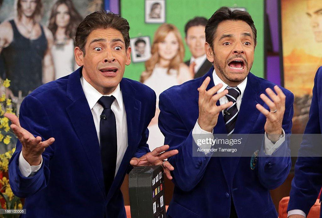 Johnny Lozada and Eugenio Derbez are seen on the set of Despierta America for simulcast with 'Good Morning America' and Fusion's the Morning Show' at Univision Headquarters on October 28, 2013 in Miami, Florida.