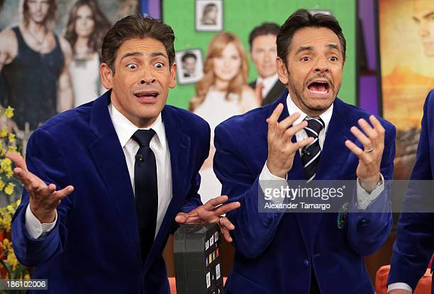Johnny Lozada and Eugenio Derbez are seen on the set of Despierta America for simulcast with 'Good Morning America' and Fusion's the Morning Show' at...