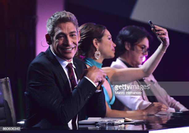 Johnny Lozada Bianca Marroquin and Poty Castillo at Mira Quien Baila Week 4 at Univision Studios on October 8 2017 in Miami Florida