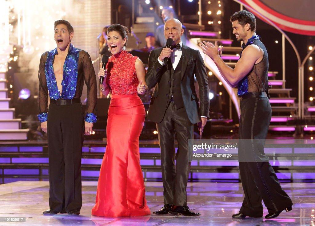 Johnny Lozada Chiquinquira Delgado Javier Poza and Pedro Moreno participate in Univision's 'Mira Quien Baila' Grand Finale at Univision Headquarters...