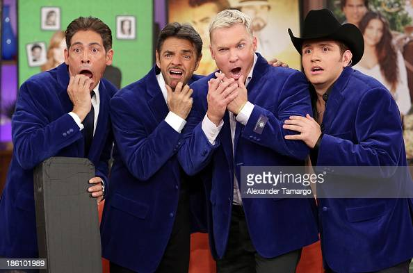 Johnny Lozada Eugenio Derbez Sam Champion and El Dasa are seen on the set of Despierta America for simulcast with 'Good Morning America' and Fusion's...