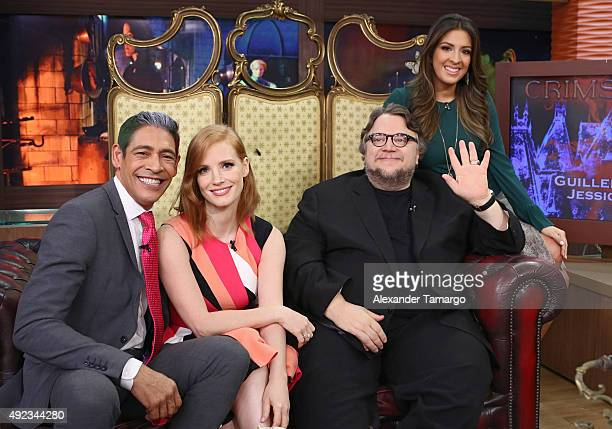 Johnny Lozada Jessica Chastain Guillermo del Toro and Maity Interiano are seen on the set of 'Despierta America' to promote the film 'Crimson Peak'...
