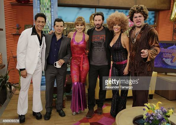 Johnny Lozada John Leguizamo Ximena Cordoba Keanu Reeves Karla Martinez and Paul Stanley are seen on the set of Despierta America to promote the new...