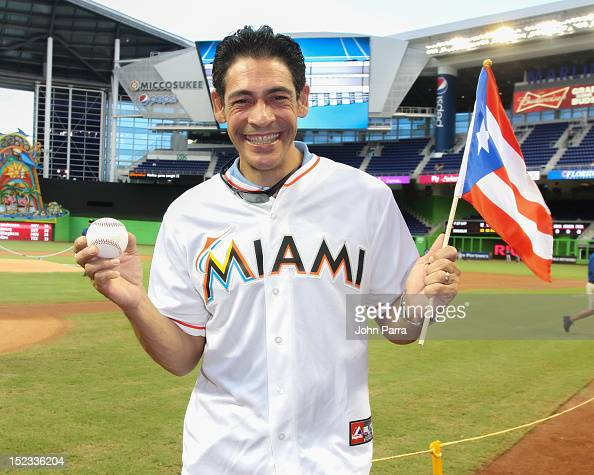 Johnny Lozada of Despierta America Throws First Pitch At Marlins Game at Marlins Park on September 18 2012 in Miami Florida
