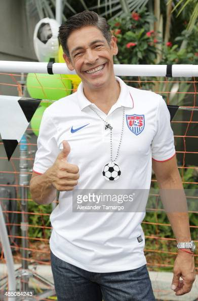Johnny Lozada poses during FIFA World Cup Trophy Tour on the set of Despierta America at Univision Headquarters on April 16 2014 in Miami Florida
