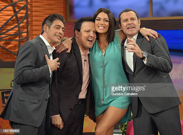 Johnny Lozada Raul Gonzalez Zuleyka Rivera and Alan Tacher are seen on the set of Despierta America at Univision Headquarters on October 24 2013 in...