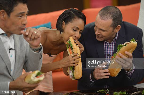 Johnny LozadaJada Pinkett Smith and Alan Tacher is on the set of Despierta America to promote Magic Mike XXL at Univision Studios on June 24 2015 in...