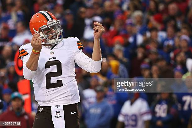 Johnny Manziel of the Cleveland Browns celebrates a touchdown against the Buffalo Bills during the second half at Ralph Wilson Stadium on November 30...