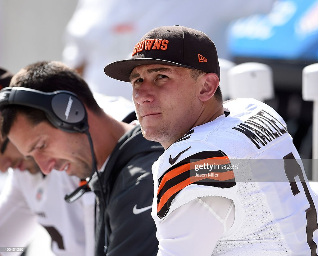 <a gi-track='captionPersonalityLinkClicked' href=/galleries/search?phrase=Johnny+Manziel&family=editorial&specificpeople=9703372 ng-click='$event.stopPropagation()'>Johnny Manziel</a> #2 of the Cleveland Browns looks on from the bench during the third quarter against the New Orleans Saints at FirstEnergy Stadium on September 14, 2014 in Cleveland, Ohio.