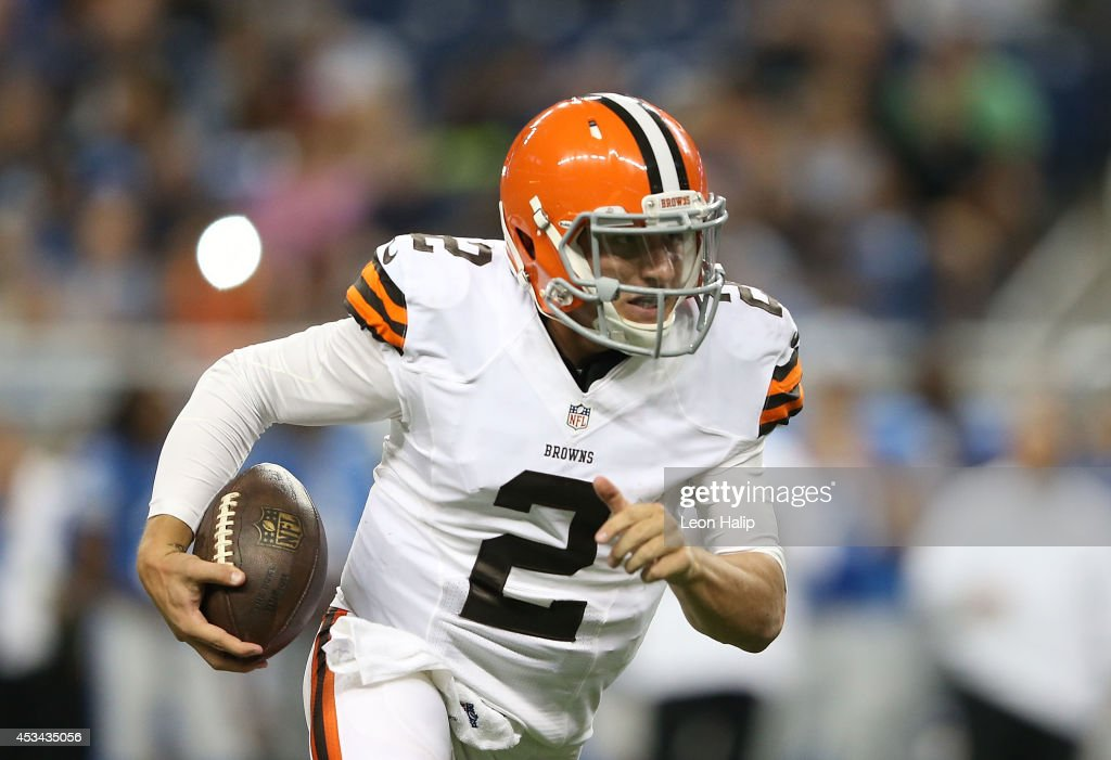 Johnny Manziel #2 of the Cleveland Browns runs for a 16 yard gain during the third quarter the preseason game against the Detroit Lions at Ford Field on August 9, 2014 in Detroit, Michigan. The Lions defeated the Browns 13-12 in a preseason game.