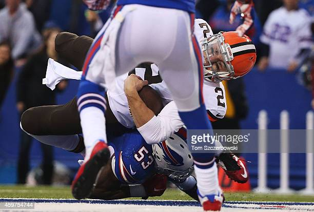 Johnny Manziel of the Cleveland Browns scores a touchdown against the Buffalo Bills during the second half at Ralph Wilson Stadium on November 30...
