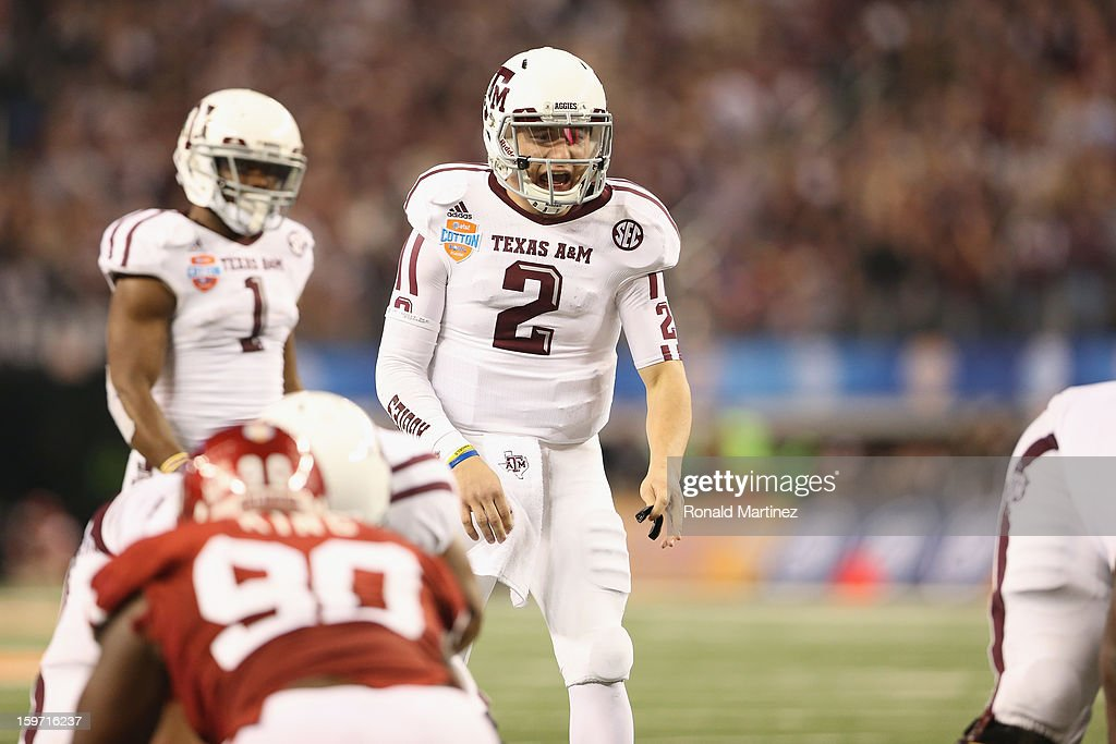 Johnny Manziel #2 of the Texas A&M Aggies during the Cotton Bowl at Cowboys Stadium on January 4, 2013 in Arlington, Texas.