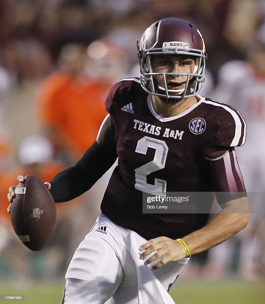Johnny Manziel #2 of the Texas A&M Aggies scrambles in the second quarter against the Sam Houston State Bearkats at Kyle Field on September 7, 2013 in College Station, Texas.