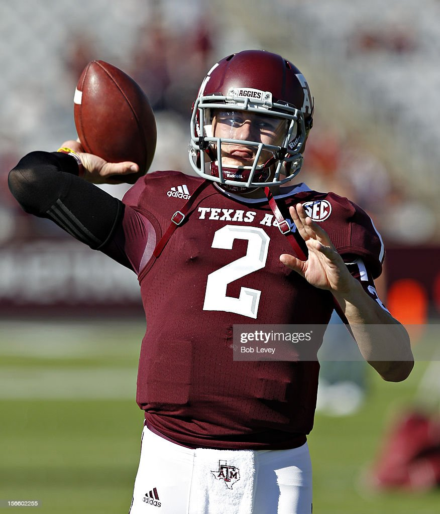 <a gi-track='captionPersonalityLinkClicked' href=/galleries/search?phrase=Johnny+Manziel&family=editorial&specificpeople=9703372 ng-click='$event.stopPropagation()'>Johnny Manziel</a> #2 of the Texas A&M Aggies warms up before playing Sam Houston State Bearkats at Kyle Field on November 17, 2012 in College Station, Texas.