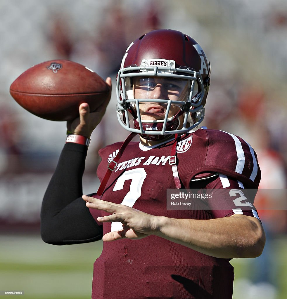 <a gi-track='captionPersonalityLinkClicked' href=/galleries/search?phrase=Johnny+Manziel&family=editorial&specificpeople=9703372 ng-click='$event.stopPropagation()'>Johnny Manziel</a> #2 of the Texas A&M Aggies warms up before playing the Sam Houston State Bearkats at Kyle Field on November 17, 2012 in College Station, Texas.